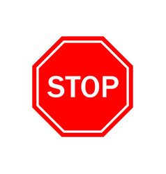 stop sign icon for traffic red octagon vector image