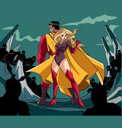 superhero couple back to back vector image