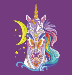 Tangle magic unicorn colorful isolated vector