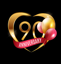 Template gold logo 90 years anniversary vector