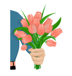 The man gives flowers-01 vector