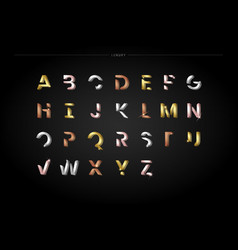 Trendy metallic letter set vector