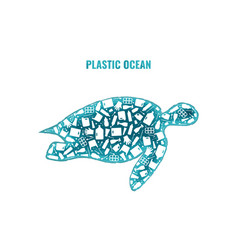 turtle stop ocean plastic pollution concept vector image