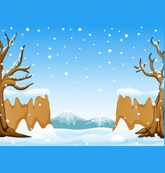 Winter landscape with snow hills and mountain vector