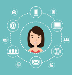 woman avatar with social network icons vector image