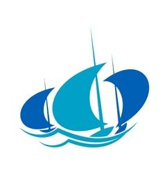 Yachts sailing on blue ocean waves vector