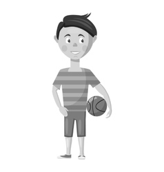 Boy with ball icon gray monochrome style vector image
