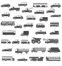 Car black icons set vector image vector image