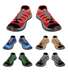Colored sneakers shoes set front view vector image vector image