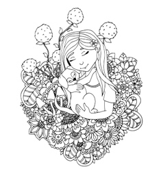 girl child and puppy in vector image