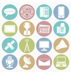 white icons communication vector image