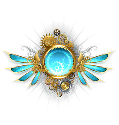 Banner with Glass Mechanical Wings vector image