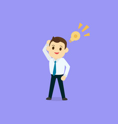 businessman get idea with lamp icon and purple vector image