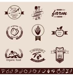 farm organic food emblems and labels set vector image vector image