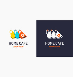 modern minimalistic logo for a home cafe label vector image vector image
