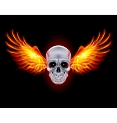 mysterious dark Chrome metal skull wings 01 vector image vector image