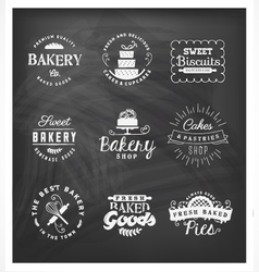 Typographical Bakery Badges and Design Elements vector image vector image