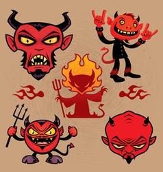 Cartoon devil collection vector