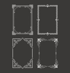 chalk style set vintage frames decorative border vector image vector image