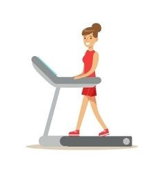 Woman Walking On Treadmill Member Of The Fitness vector image