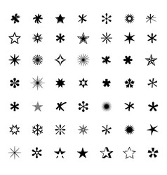big set of black stars vector image