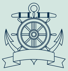 Icon on the sea theme lifebuoy anchor steering vector