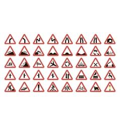 set warning road signs vector image vector image