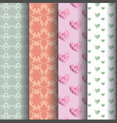 sets geometric patterns and pink roses vector image vector image