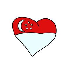 singapore isolated heart flag on white background vector image
