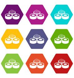 sushi icon set color hexahedron vector image vector image