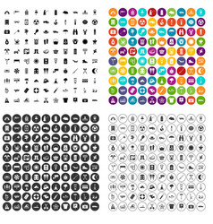 100 camping icons set variant vector