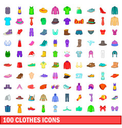 100 clothes icons set cartoon style vector