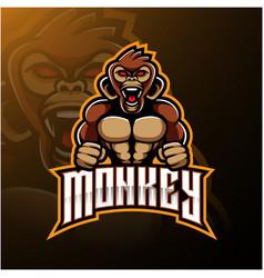 angry monkey face mascot logo design vector image