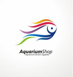 Aquarium shop artistic logo design vector