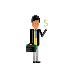asian man with suitcase and dollar sign in hands vector image