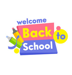 back to school banner with typography and study vector image