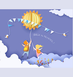 back to school card with kids leaves and sun vector image