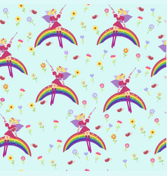 background fairy on a raibow seamless vector image