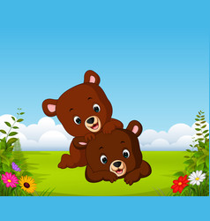 beautiful view with two little bear playing vector image