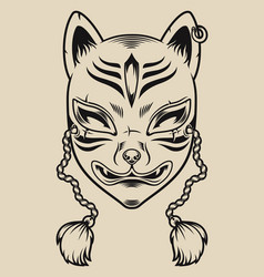 black and white a japanese fox mask vector image