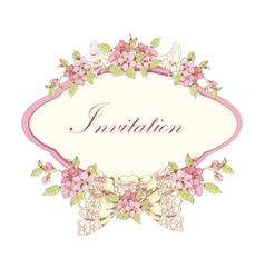 Blooming cherry invitation vector image