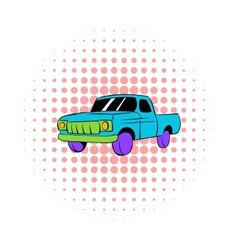 Blue pickup icon comics style vector