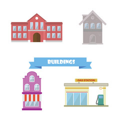 Buildings collection flat design school house vector