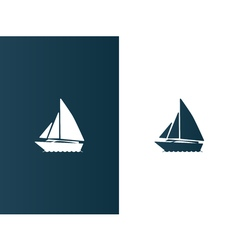 Business logo yacht floating on the waves modern vector image