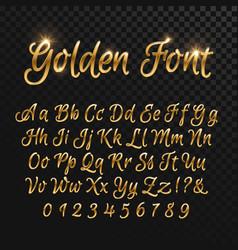 Calligraphic golden letters vintage elegant gold vector