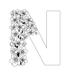 Capital letter n patterned with contour drawn vector