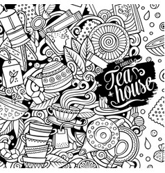 cartoon doodles tea time frame detailed vector image