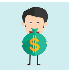 cartoon with money in flat design vector image vector image