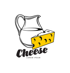 cheese with milk jug brand logo icon vector image