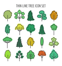 Colored hand drawn tree icons vector